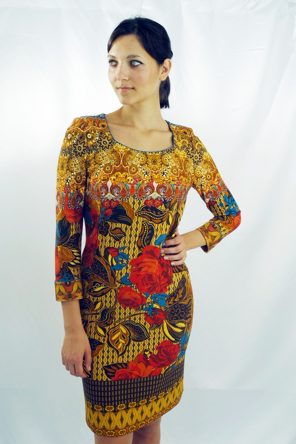 88bee3382c0 Viscose jersey dress in hazel - royal blue - brick red floral geometric  pattern - AtelierRita - High fashion - Tailoring clothes